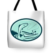 Fly Fisherman Boat Reeling Trout Retro Tote Bag