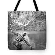 Fly Fishing In A Mountain Lake Tote Bag
