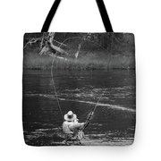 Fly Fishing In Black And White Tote Bag
