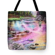 Fly Fishing In River At Sunrise Tote Bag