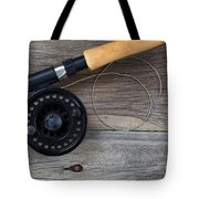 Fly Fishing Reel And Line On Rustic Wood  Tote Bag