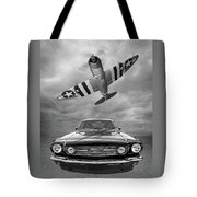 Fly Past - 1966 Mustang With P47 Thunderbolt In Black And White Tote Bag