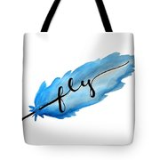 Fly Watercolor Feather Horizontal Tote Bag