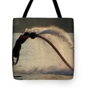 Flyboarder About To Enter Water With Hands Tote Bag