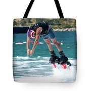 Flyboarder Bending Over To Dive Into Water Tote Bag