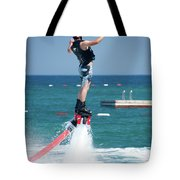 Flyboarder Falling Backwards Next To Swimming Platform Tote Bag