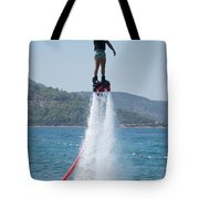 Flyboarder Giving Victory Sign With One Hand Tote Bag