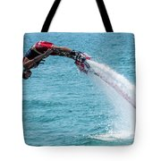 Flyboarder In Red Followed By Water Jet Tote Bag
