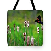 Flying Amongst Cattails Tote Bag