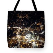 Flying At Night Over Cities Below Tote Bag