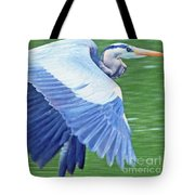 Flying Great Blue Heron Tote Bag