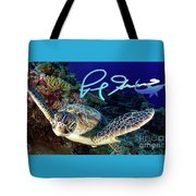 Flying Green Turtle With Logo Tote Bag