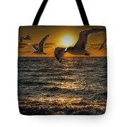 Flying Gulls At Sunset Tote Bag