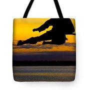 Flying Kick Over Muskegon Lake Tote Bag