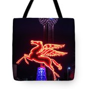 Flying Pegasus And Reunion Tower Night Tote Bag