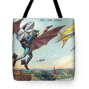 Flying Policemen, 1900s French Postcard Tote Bag