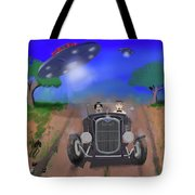 Flying Saucers Attack Teenage Hot Rodders Tote Bag