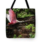 Flying Spoonbill Tote Bag