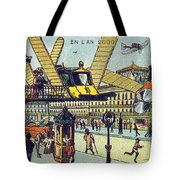 Flying Taxicabs, 1900s French Postcard Tote Bag