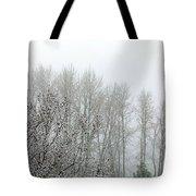 Fog And Light Snow Tote Bag