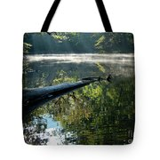 Fog And Reflection Of Stream Tote Bag