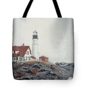 Fog Approaching Portland Head Light Tote Bag