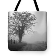 Fog Covered Lane Tote Bag