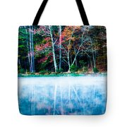 Fog On The Lake Tote Bag