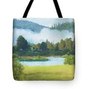 Fog On The Road To Mccall Tote Bag