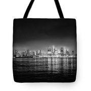 Fog Shrouded Midtown Manhattan In Black And White Tote Bag