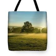 Foggy Autumn Morning On The Farm Tote Bag