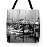 Foggy Boats Tote Bag