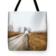 Foggy Country Road Tote Bag