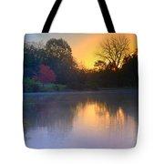Foggy Fall Sunrise Tote Bag