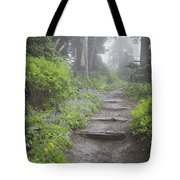 Foggy Forest Path Tote Bag