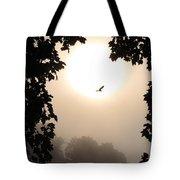 Foggy Heron Flight Tote Bag
