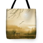 Foggy Lake And Three Couple Of Birds Tote Bag