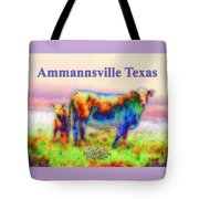 Foggy Mist Cows #0090 Arty Ammannsville Texas Tote Bag