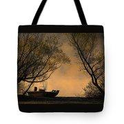 Foggy Morning Fishing Boat Tote Bag