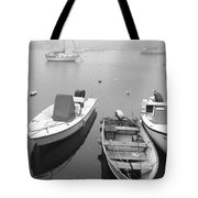 Foggy Morning In Cape Cod Black And White Tote Bag