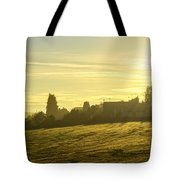 Foggy Morning Over Kennet Village Tote Bag