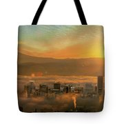 Foggy Morning Over Portland Cityscape During Sunrise Tote Bag
