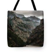Foggy Mountains Over Neretva Gorge Tote Bag