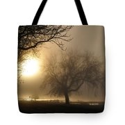 Foggy November Sunrise On The Bay Tote Bag