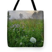 Foggy Prairie In Glacial Park In Mchenry County Tote Bag