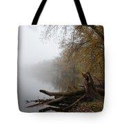 Foggy River Bank Tote Bag