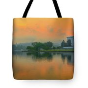 Foggy Sunrise At The Tidal Basin Tote Bag