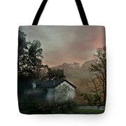 Foggy Sunrise In The Mountains Tote Bag
