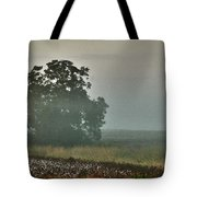 Foggy Tree In The Field Tote Bag