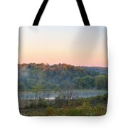 Foggy Valley Panorama Tote Bag